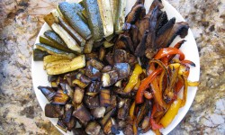 Roasted veggies on a platter - don't they look yummy?