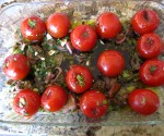 Tomatoes all ready to roast in the oven