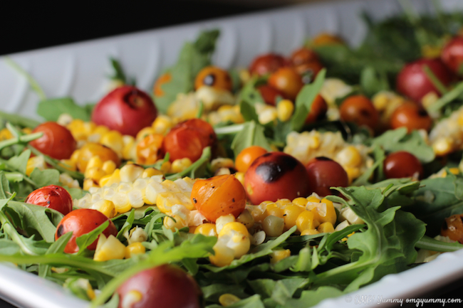 Tomato, Corn, and Arugula Salad
