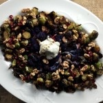 Roasted Brussels Sprouts and Cauliflower with Pomegranate Two Ways