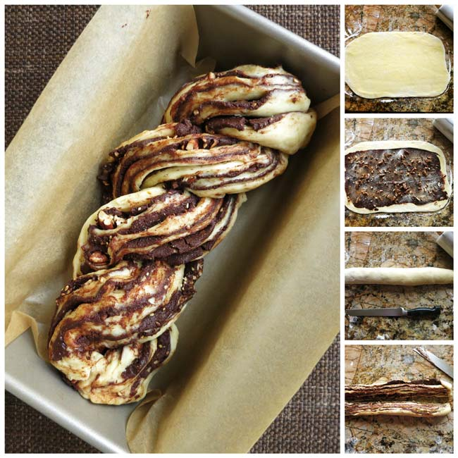 chocolate babka collage showing how to assemble the loaf