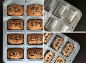 Banana chocolate chip loaf process collage