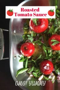 Roasted Tomato Sauce in pan before roasting for Pinterest