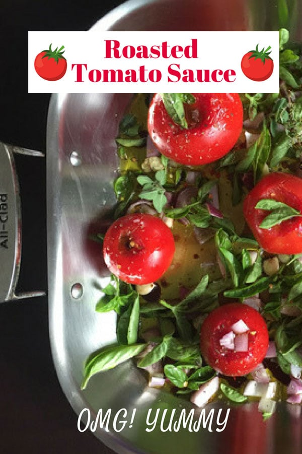 Roasted Tomato Sauce is a revelation of flavor and technique - so easy yet yield incredibly deep flavor - perfect for so many diets including #vegetarian, #vegan, #Whole30, #paleo, #GlutenFree