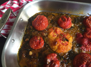 Roasted Tomato Sauce - Tomatoes in roasting pan after oven