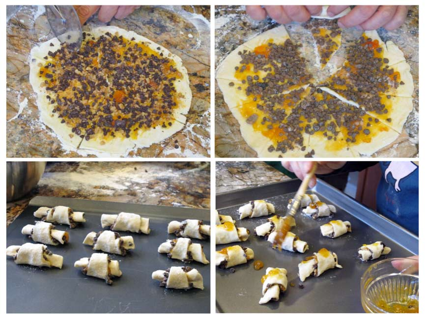 Process shots showing how to roll rugelach pastries