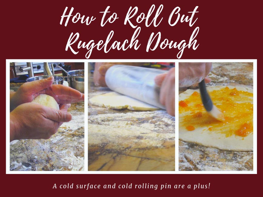 Process photos showing how to roll out rugelach dough