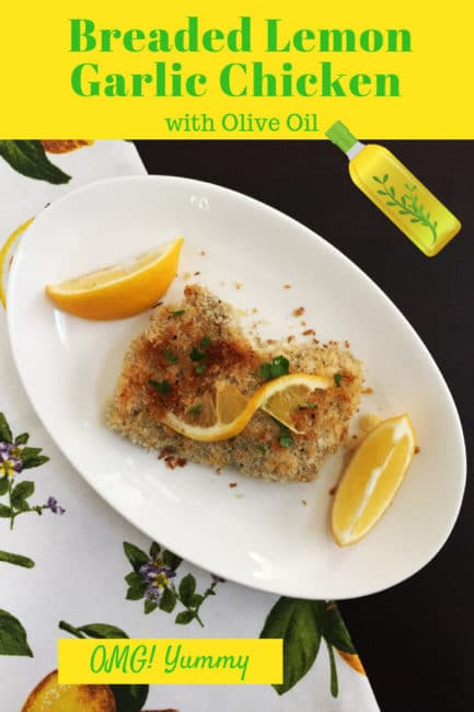 Breaded Lemon Garlic chicken on white plate with dark background, lemon napkin, and text