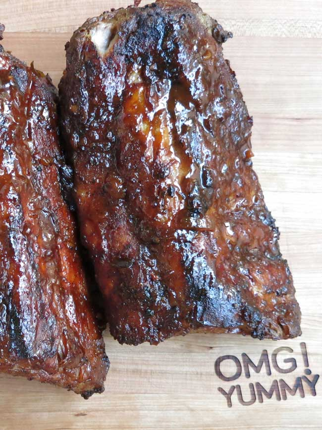 cooked ribs on OMG! Yummy cutting board