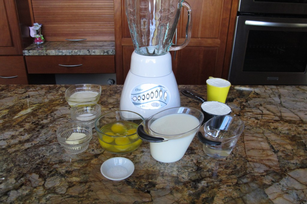 mise en place for making crepe batter, Gregory style