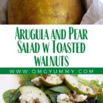 pin image - whole pear on top, composed salad on the bottom
