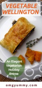 vegetable wellington on plate with thyme and squash