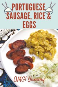 portuguese sausage rice and eggs on white plate