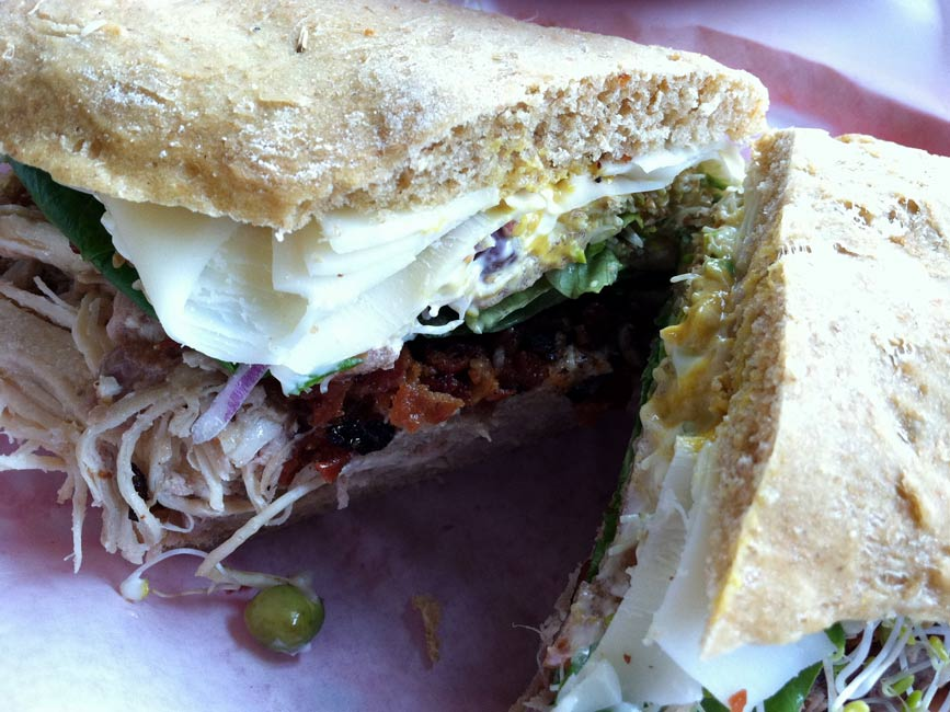 sandwich cut open at Waialua Bakery