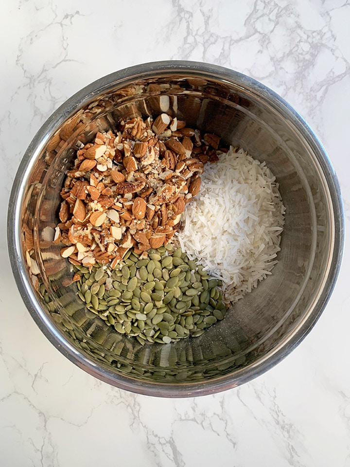 dry granola ingredients in bowl unmixed