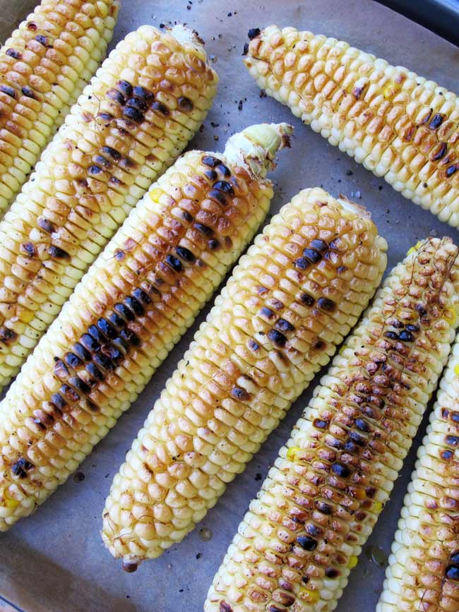 grilled or broiled corn on sheet pan for corn salad