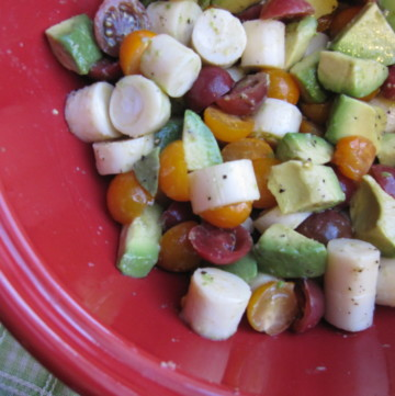 hearts of palm, tomato, and avocado
