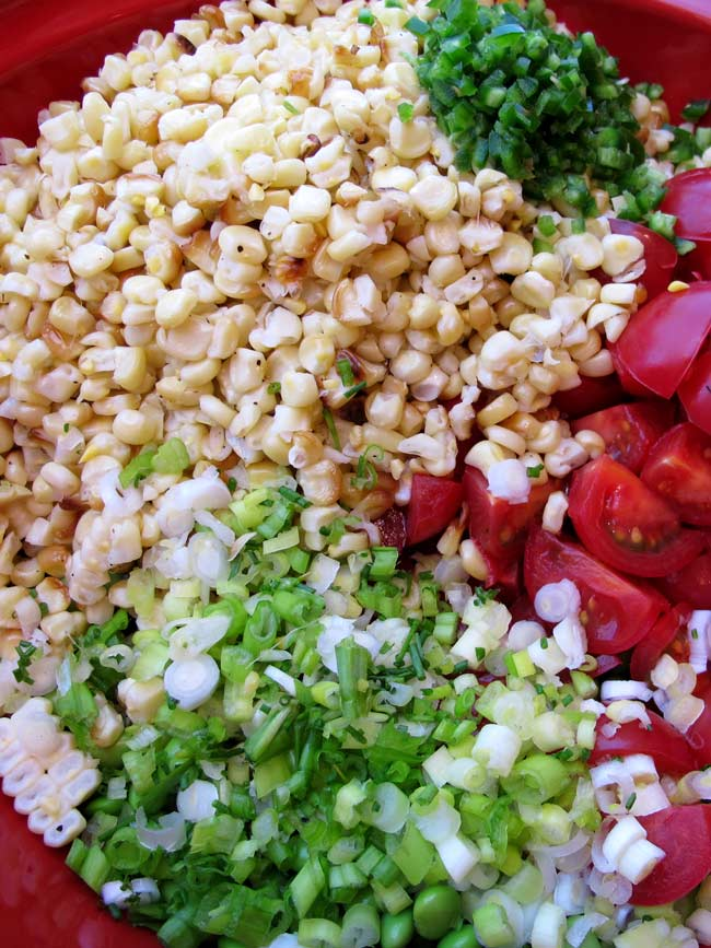 all ingredients for make-ahead corn salad in bowl