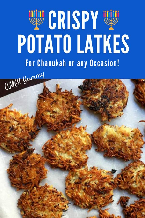 Learn all the top tips and tricks for making a crispy potato latke. This post includes my own crispy potato latke recipe plus ideas from many others. Enough so you can make 8 different latkes for the 8 nights of Chanukah! #potatolatke #potatopancake #Hanukkah #chanukah #Hannukah #Jewish Holidays