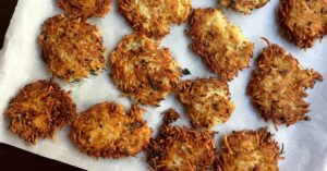 Potato Latke Recipe - potato latkes on parchment