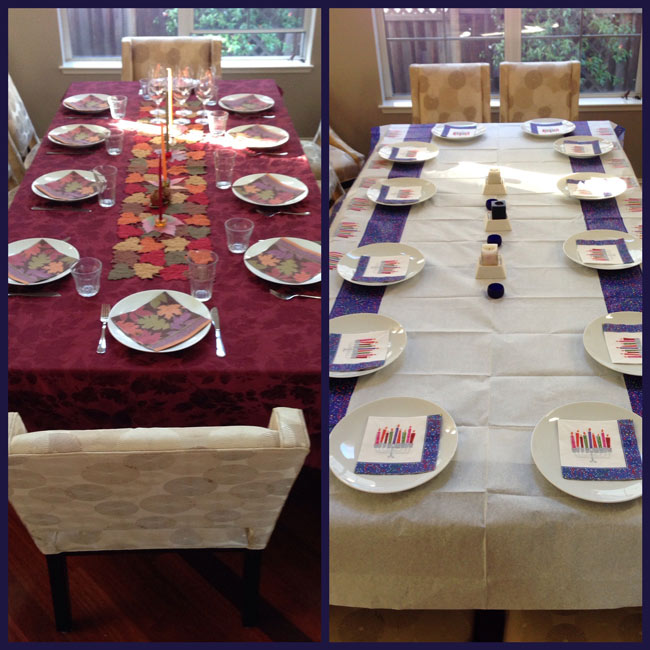 Thanksgiving and Hanukkah dining tables side by side