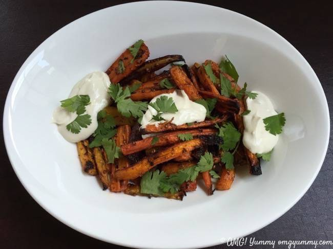 "These honey roasted carrots form Ottolenghi's ""Plenty"" cookbook are topped with simple yogurt tahini sauce and it's very possible that the murmurs around the table when I first served them were ""best carrots I've ever had""!"