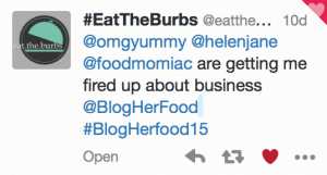 Tweet from EatTheBurbs during BlogHerFood Panel