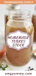 pinterest image showing turkey stock in a jar with a label