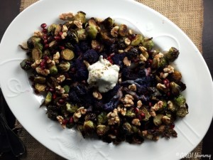 Roasted Brussels and Cauliflower with Pomegranate Two Ways and a Za'atar Yogurt Sauce