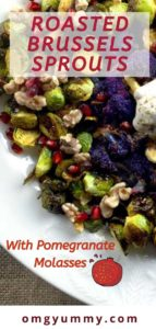 pinterest image with roasted brussels on a white platter