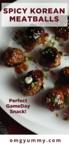 pinterest image with meatballs on white plate