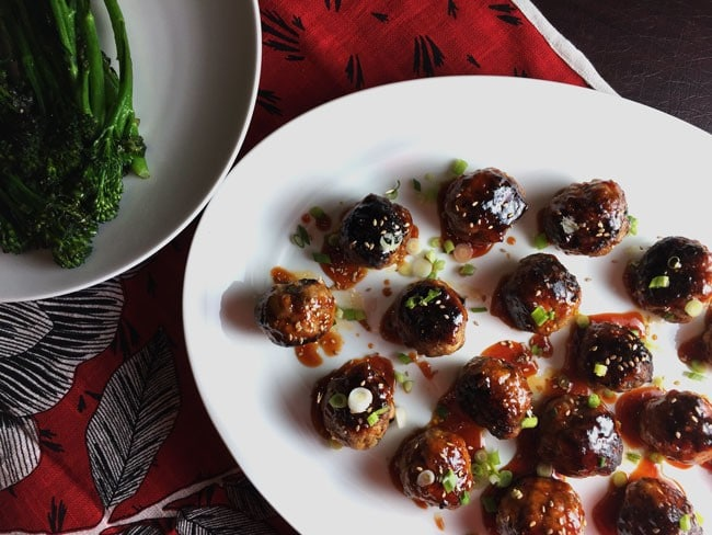 These spicy Korean meatballs with Gochujang work perfectly on a busy weeknight or your SuperBowl buffet. Inspired by a Foxes Love Lemons recipe on Food52