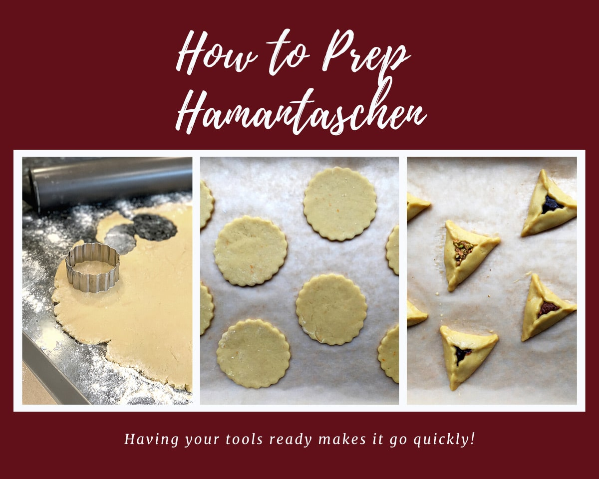 3 panel photo showing hamantaschen cookie prep