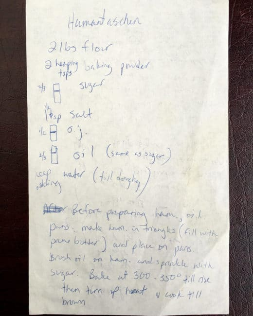 bubbe's hamantaschen recipe scrawled on a piece of paper