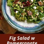 pinterest image with salad in blue plate