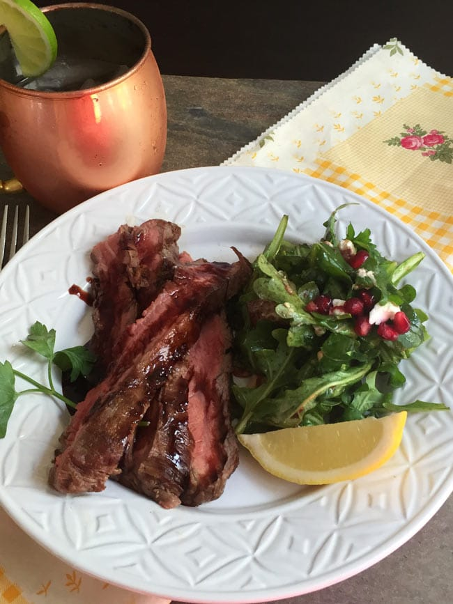 arugula salad and flank steak with moscow mule
