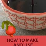 pomegranate molasses in orange bowl pinterest image