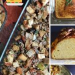 sage sausage stuffing pin showing finished stuffing plus cornbread and challah