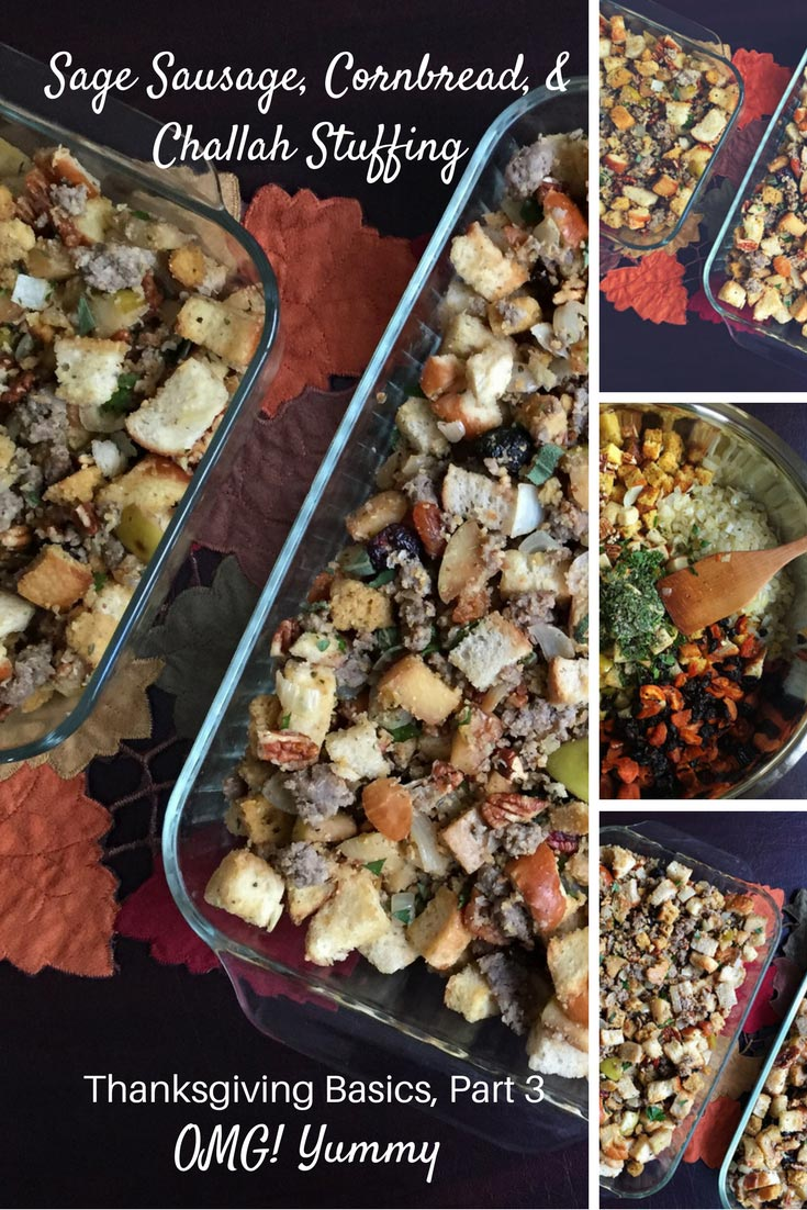 Sage sausage, cornbread, and challah stuffing - our family's Thanksgiving tradition: with dried fruit, nuts, apples and lots and lots of love.
