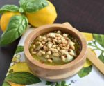 White bean basil hummus style dip with pine nuts and meyer lemon