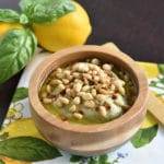 White Bean Hummus Style Dip with Basil, Pine Nuts and Meyer Lemon
