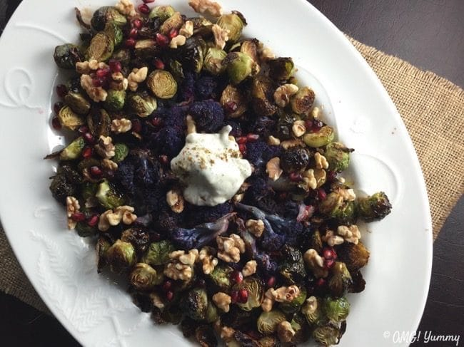 Roasted Brussels Sprouts with Pomegranate Two Ways - a festive holiday side dish or vegetarian main course