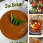 Pinterest image showing the steps to make roasted tomato sauce from roasting to the blender