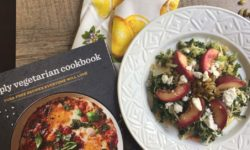 Quinoa and Nectarine Slaw salad plus cookbook and lemon napkin