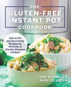 Instant Pot Red Lentil Chili showing the cover of the cookbook called Gluten-Free Instant Pot Cookbook