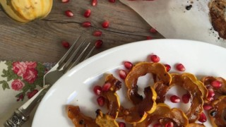 Roasted Delicata Squash with Pomegranate Molasses and Date Syrup