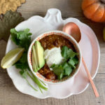 Instant Pot Red Lentil Chili with Pumpkin and Black Beans || Vegan, Gluten-Free
