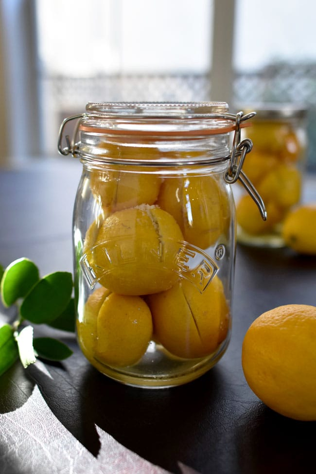 Ottolenghi Preserved Lemons in jar with sunshine