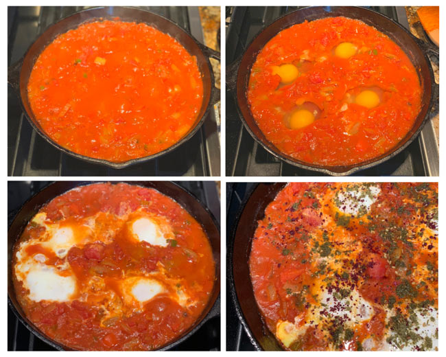 4-picture process collages show how to make shakshuka from adding tomatoes to cooking the eggs