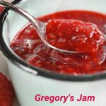 pinterest image with close up of jam on spoon in blue bowl